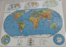 Nystrom World Map Double-Sided Markable Desk Placemat Homeschool 22x17 2HG99