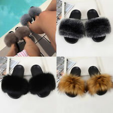 Women Ladies Summer Fur Fluffy Sliders Slippers Slip On Flat Sandals Mules Shoes