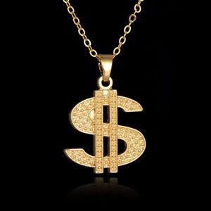 Gold DOLLAR Bling Necklace Chain Pendant UK 3 FOR 2 Medallion Rapper Gangster