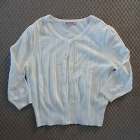 Review Size 14 White 3/4 Sleeve Button Cotton Blend Cardigan Women's