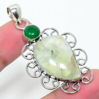 "Moss Prehnite Onyx Gemstone Handmade Ethnic Jewelry Pendant 1.97"""