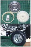 Dunlop steel wheels for 1/8 scale Revell Monogram E Type Jaguar car kit