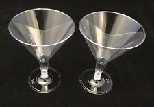 12 X Disposable Clear Plastic Martini Cocktail Champagne Wine Glasses