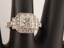 .75 Illusion Princess Halo Cluster Diamond Engagement Ring G/VS 14k White Gold