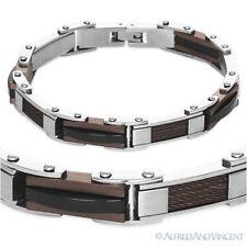 Cuff Mens Bracelet Rocker Steampunk Silver-tone Brown Black Stainless Steel Link