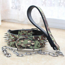 Medium Large Dogs Leather Spiked Studded Dog Collar + Chain Leash set Pit Bull