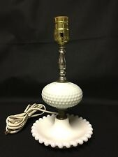 """Hobnail Milk Glass Table Lamp 11 1/2"""" Working"""