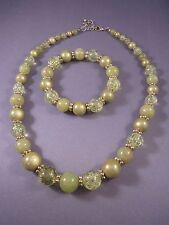 Women's Vintage Green Assorted Bead Necklace Claw Close & Elastic Bracelet 2 pc.