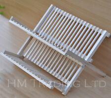 Plegable 2 niveles de madera Plato Placa Drenador Fregadero Cocina estante sostenedor de taza