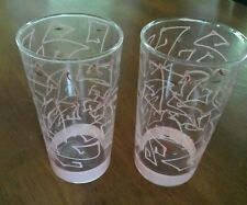 Unique Vintage Federal retro glasses/tumblers  Pink with gold..set of 2...Rare!