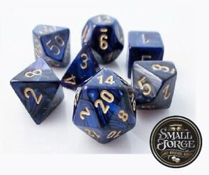 Chessex CHX27427 Scarab Royal Blue with Gold, 7-Die D&D Set & Box - NEW