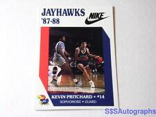 Vtg Rare Nike 1987 1988 Kevin Pritchard Kansas Jayhawks Ku Ncaa Basketball Card