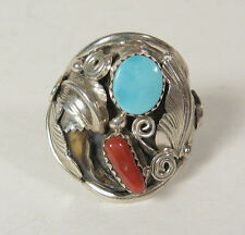 Size 10 Ring Navajo Turquoise Red Coral 925 Sterling Silver Native US Made S Ray