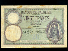 Algeria:P-78b,20 Francs 1924 * French Rule * Unlisted Date !!! *