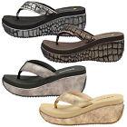 Dunlop Women Wedge Heel Sandals Ladies Memory Foam Beach Toe Post Flip Flops