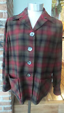Vtg Pendleton plaid 50s 49er stadium  Jacket  100% Wool Red / Olive / Green