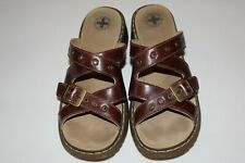 Dr Doc Martens Brown Strappy Leather Buckle Wedge Sandals Sz 41 / US 9 Womens