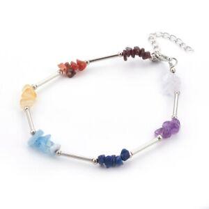 Bracelet cheville femme pendentifs argent pierres bleu ambre rouge corail violet