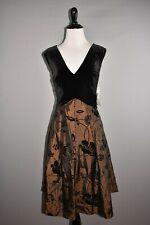 EVAN PICONE NEW $129 Black Mahogany Velvet Print Fit & Flare Dress Size 8