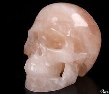 "5.1"" ROSE QUARTZ Carved Crystal Skull, Realistic, Crystal Healing"