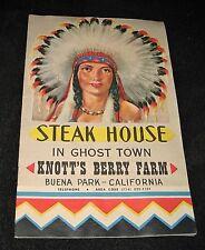 Vintage 1950s Knott's Berry Farm Steak House in Ghost Town Menu & Brochure