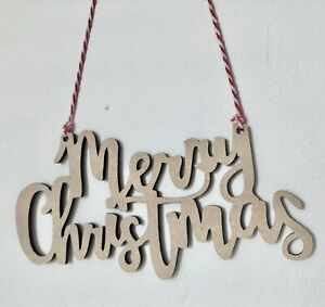 Wooden Merry Christmas Sign Shapes Embellishments MDF Wood Craft Tags Blanks