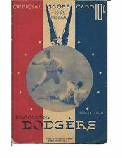 1943 Brooklyn Dodgers-Reds Program Dodgers Sweep Pair!!