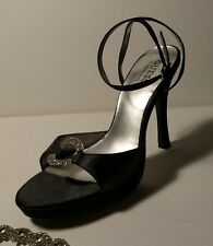 GUESS Sz5.5m Black satin rhinestone ring open toe ankle strap buckle heels