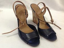 TORY BURCH Ashton Leather Sandal Cork Wedge Patent Navy / Royal Tan Sz 8.5