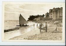 Hotel & Beach Honolulu  Waikiki Hawaii  Vintage real photo postcard RPPC