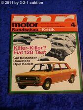 Motor Rundschau 4/70 Fiat 128 Opel Kadett 1,1 S