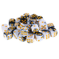 30 Pieces Acrylic 6-sided Spot Dice D6 w/ Iron Box White for Party Bar Game