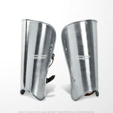 A Pair Medieval Steel Plate Armor Leg Greaves Set Larp Costume Cosplay