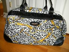 "KATHY VAN ZEELAND Yellow & Black WHEELED DUFFLE LUGGAGE 22"" XLarge!"
