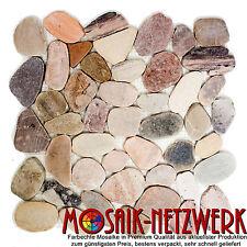 Stein- Fluskiesel geschnitten beige/grau/rot Wand Boden Dusche 30-0204_f|10Bögen