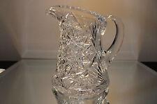 HEAVY American Brilliant Period Cut Glass Juice Pitcher ANTIQUE ABP Hobstar