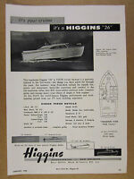 1958 Higgins 26 Express Sedan Yacht cruiser boat vintage print Ad