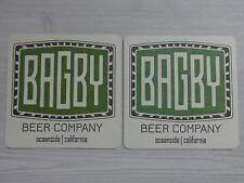 Beer Bar Coaster ~*~ BAGBY Beer Company ~ Oceanside, CALIFORNIA ~ Craft Brewing