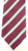 IZOD Mens Red White & Gray Diagonal Striped Classic Silk Tie Necktie