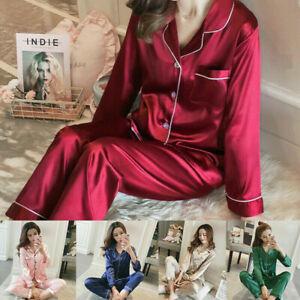 Satin Pyjamas Ladies Womens PJs Silk Long Sleeve Soft Sleepwear Nightwear Set UK