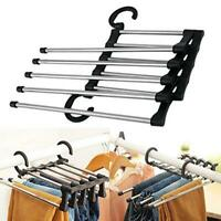 5 in 1 Retractable Clothes Pants Trouser Hanger Storage Rack Closet Organizer