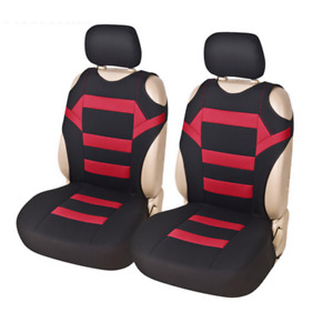 2Pcs Car Universal Black/Red Front Seat Cover Interior Seat Cushion Protector