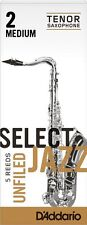 1 Box of 5 D'Addario/Rico Select Jazz Reeds Unfiled Tenor Sax 2-Medium (2M) NEW!