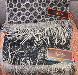 Tasso Elba Mens 100% Pure Cashmere Scarf Muffler Black/Gray Set of 2