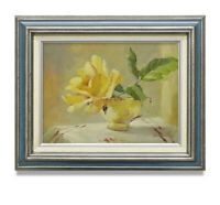 NY Art - 12x16 Impressionist Yellow Rose in Teacup Oil Painting with Frame!