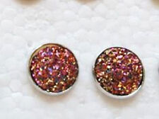 SPARKLING DRUZY RESIN PINK/GOLD ROUND SILVER STUD EARRINGS 12MM