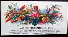 PERFUME TRADE CARD HARDING CENTRAL FALLS RHODE ISLAND FLOWERS BUTTERFLY GIRL USA