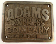Solid Brass Adams Express Company Strong Box Sign Plaque With Antique Patina