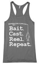 Threadrock Women's Bait Cast Reel Repeat Racerback Tank Top Funny Fishing