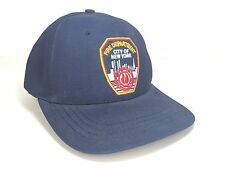 Fire Department Hat City of New York NYC Blue Vtg Made in USA Twin Tower Patch